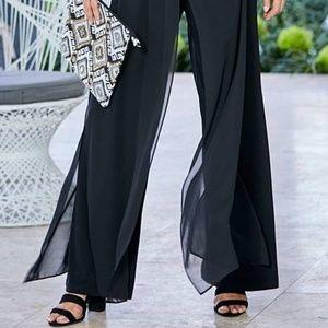 Adrianna Papell I Black Sheer Overlay Dress Pants